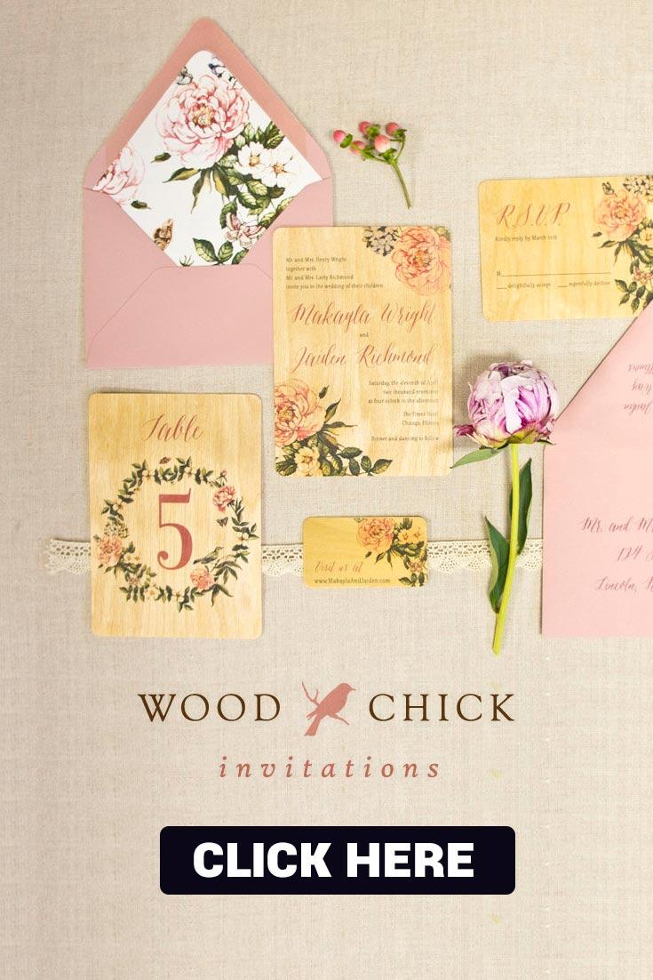Etsy wooden wedding invitations wood chick