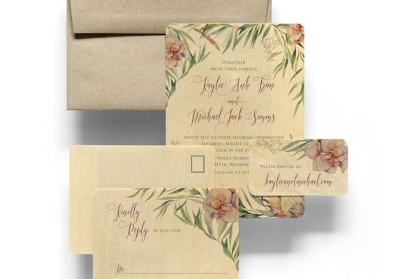 The 3 Most Beautiful Engraved Wooden Wedding Invites Online