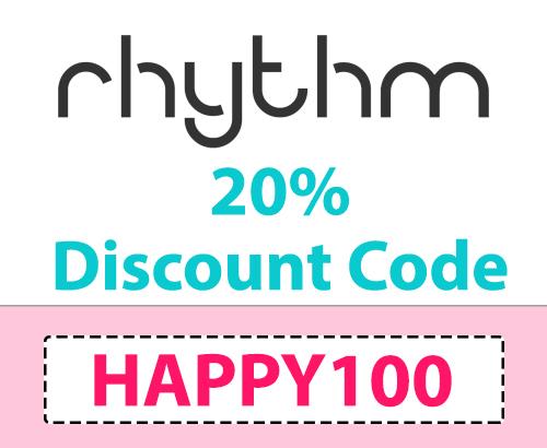 20% Rhythm Discount Code: HAPPY100, save 20% on CBD Seltzer Water drinks