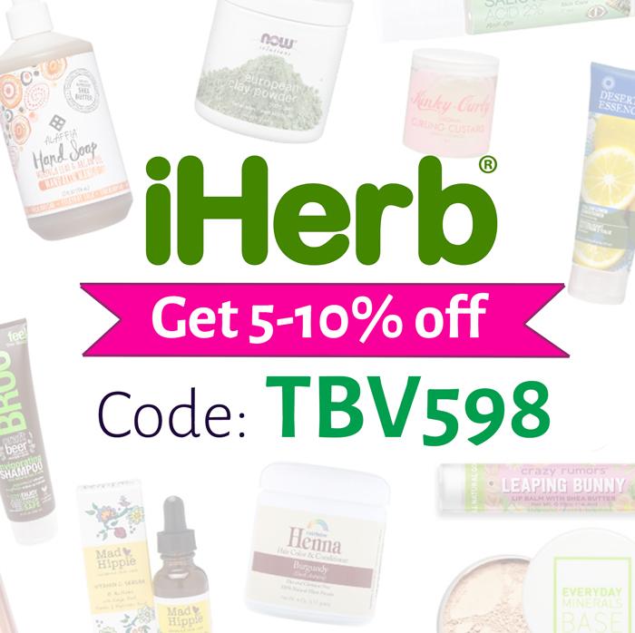 iHerb promo code | 5-10% off code: TBV598